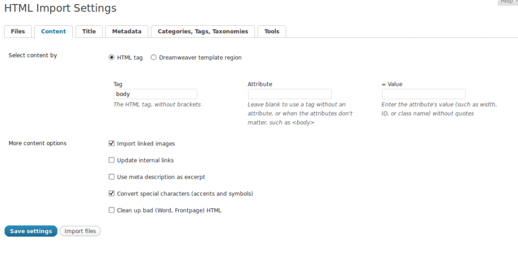 Screen capture of content settings of the HTML Import 2 Plugin.