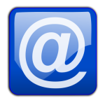 email symbol on blue background