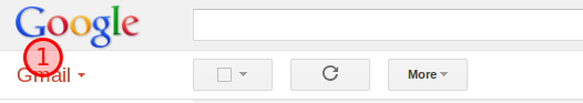 Gmail drop down menu highlighted.