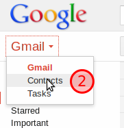 Drop down menu with contacts highlighted.