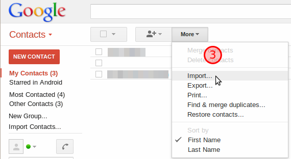 More drop down with import highlighted.
