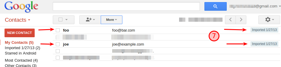 Contacts screen shows the imported names and email addresses.