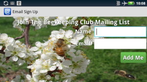 Email collection screen with honey bees in the background