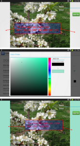 screen capture showing setting of custom background color