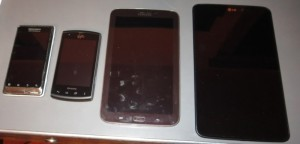 picture of four android test devices