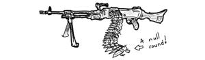 belt fed machine gun with null round